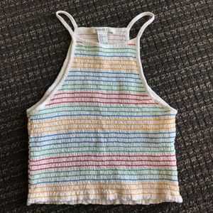 Forever 21 Rainbow Striped Halter Top